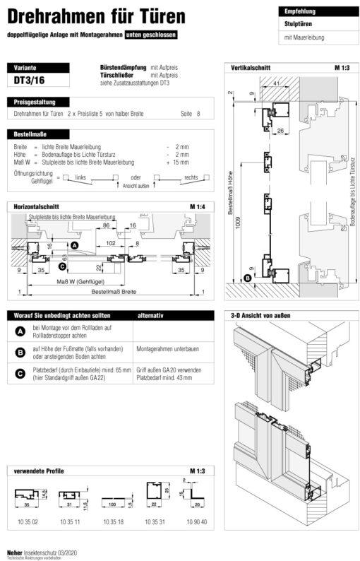 Drehrahmen Stulptüre DT 3/16 Aufmaßanleitung Überblick