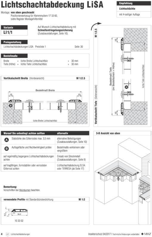 Lichtschachtabdeckung Lisa 4-seitige Auflage Montage Überblick