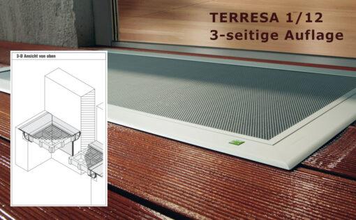Lichtschachtabdeckung Terresa TE 1/12 mit Statikprofil 3-seitige Auflage