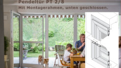 Pendeltüre für flächenbündige und flächenversetzte Türen mit sehr schrägem oder stark abgerundetem Blendrahmenüberschlag - PT 2/8 von MHZ Neher Technology