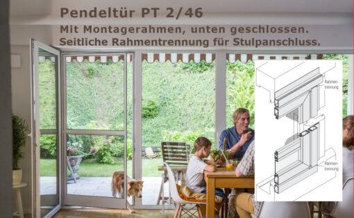 Pendeltüre für Kunststoffstulptüren mit sehr schrägem oder stark abgerundetem Blendrahmenüberschlag - PT 2/46 von MHZ Neher Technology