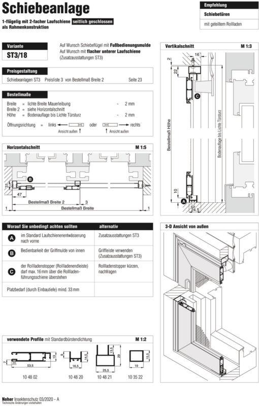 Schiebeanlage ST3/18 Aufmaßanleitung Überblick