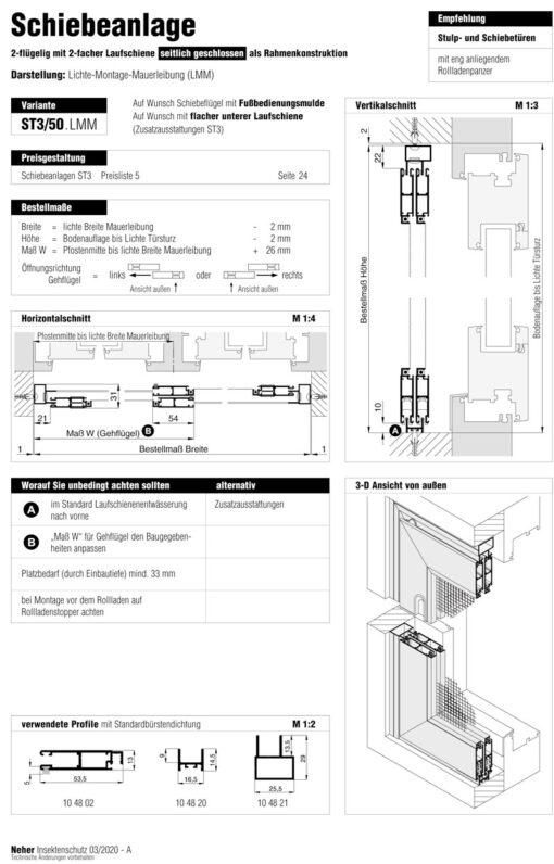 Schiebeanlage ST3/50 LMM-Aufmaßanleitung Überblick