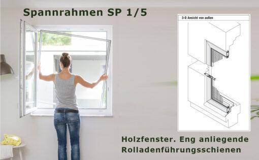 Spannrahmen 1/5 Holzfenster anliegende Rolladenführungsschienen