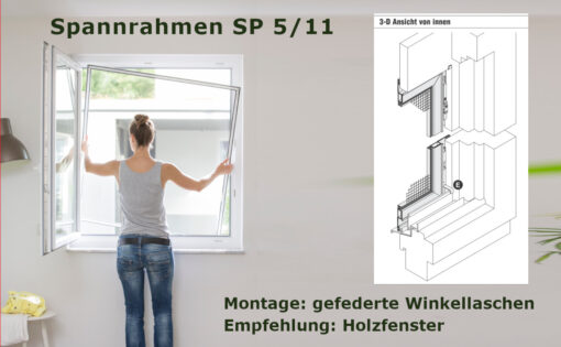 Insektenschutz-Spannrahmen für Holzfenster mit Regenschiene und eng anliegendem Rollladenpanzer - SP 5/11 von MHZ Neher Technology