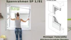 Insektenschutz-Spannrahmen für flächenversetzte Fenster mit Wetterschenkel und eng anliegendem Rollladen - SP 1/81 von MHZ Neher Technology