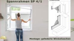 Insektenschutz-Spannrahmen für flächenbündige und flächenversetzte Fenster mit sehr schrägem oder stark abgerundetem Blendrahmenüberschlag - SP 4/1 von MHZ Neher Technology