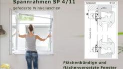 Insektenschutz-Spannrahmen für flächenbündige und flächenversetzte Fenster mit schrägem Blendrahmenüberschlag und seitlich links enger Rollladenführungsschiene - SP 4/11 von MHZ Neher Technology