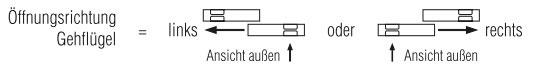 Öffnungsrichtung Schiebetür ST3/50